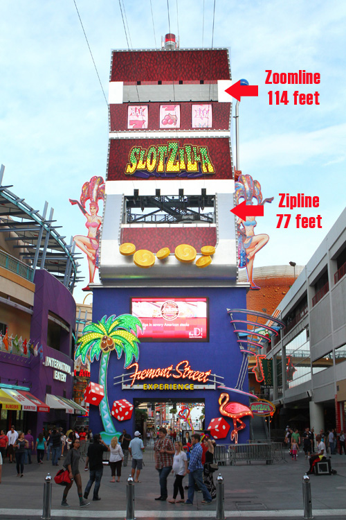 "This illustrates the two levels olf ""Aieee!"" at the premier zip line in Las Vegas, SlotZilla."