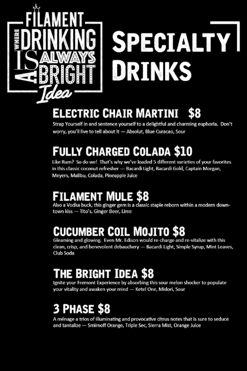 Filament specialty drinks