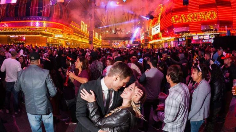 New Years on Fremont Street Couple Kissing